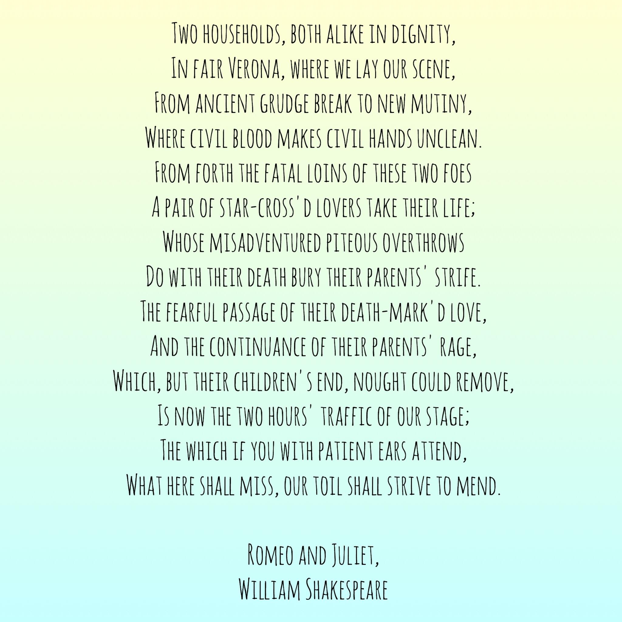 Prologue, Romeo and Juliet